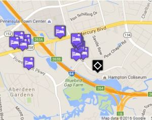 Click for map of hotels closest to Hampton Coliseum.