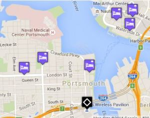 Click for map of hotels closest to Portsmouth Pavilion.