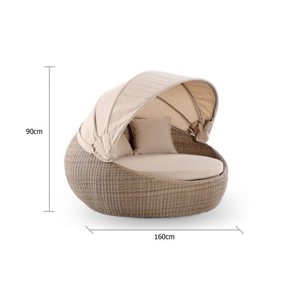 newport outdoor round wicker daybed with canopy