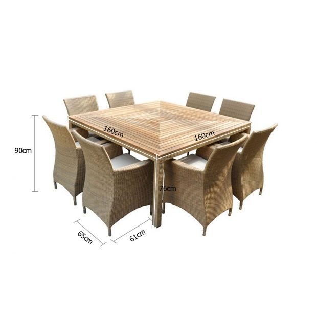 sahara 8 seater square outdoor teak and wicker patio dining setting