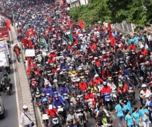 Strikende Arbeiter in Jakarta