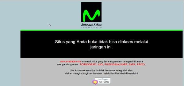 Wenn man die Webseite des Brokers Avatrade aufruft erhält man die Sperrseite.