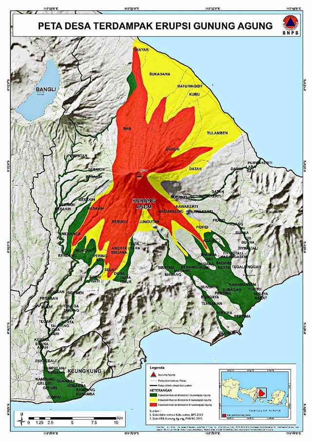 Bedrohungsgebiete um den MountAgung Foto: Jakarta Post