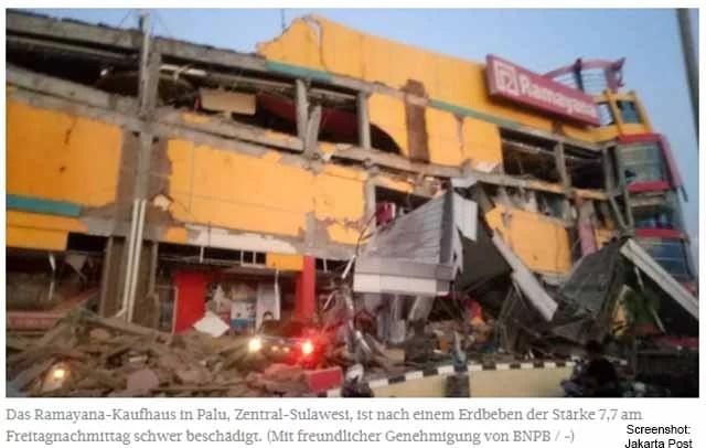 Tsunami nach schweren Erdbeben Foto: Screenshot Jakarta Post