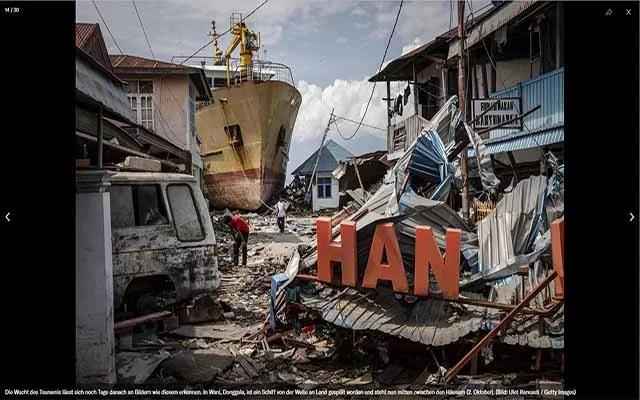 Indonesien setzt Hilfskräfte in Palu fest Screenshot: NZZ.ch