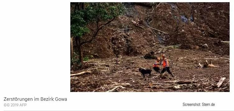 Überschwemmungen und Erdrutsche in Indonesien Screenshot: Stern.de