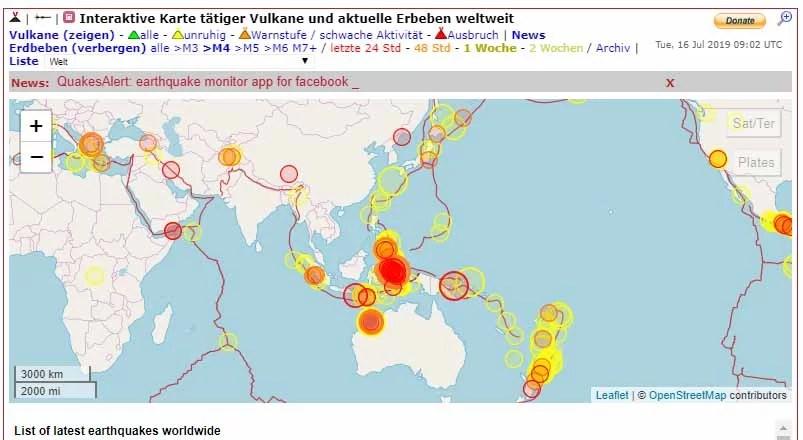 Erdbeben Übersicht der letzten 7 Tagen