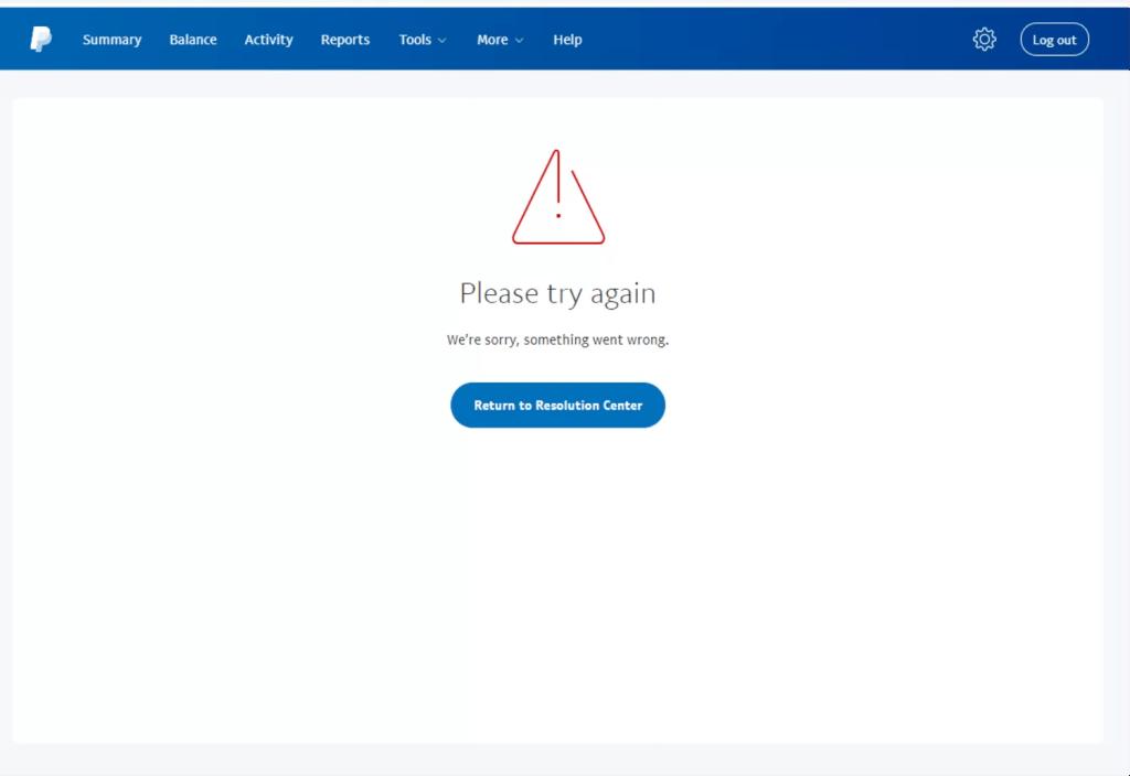 Fehlermeldung Paypal