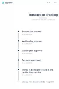 Trackinginformation meiner Testüberweisung