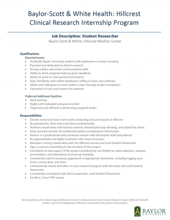 Job Description Student Practicum Hillcrest Prehealth