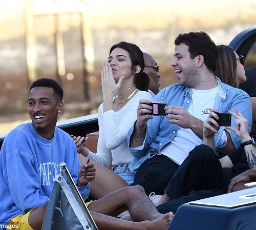 PHOTOS: Kendall Jenner goes bra-less on private boat ride with squad