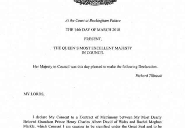 The Queen has given her formal consent for Prince Harry to marry