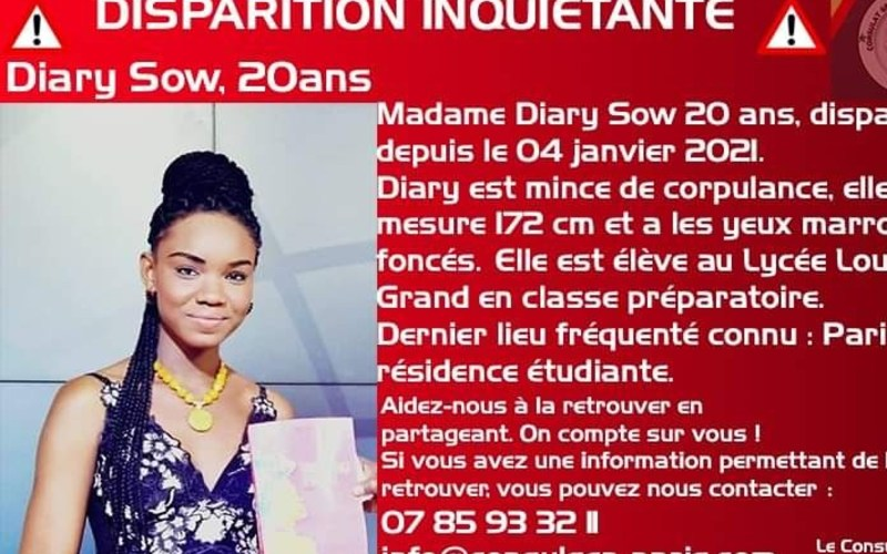 Senegal 's top student Diary Sow  is missing in Paris: Police
