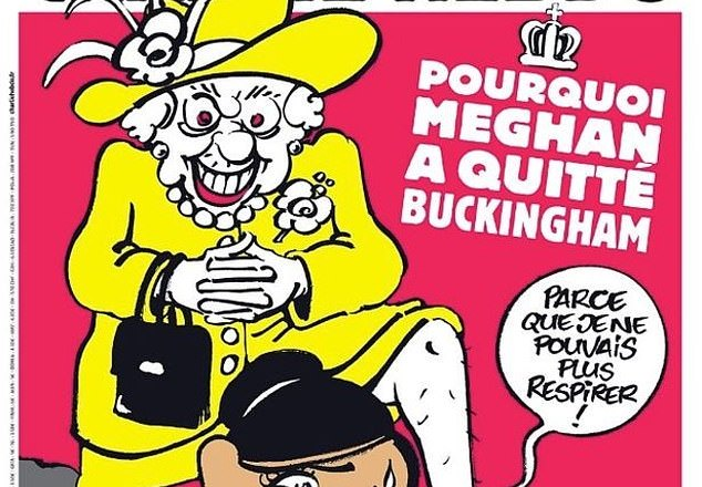 Charlie Hebdo Magazine releases magazine cover depicting the Queen kneeling on Meghan 's neck: GRAPHIC CONTENT
