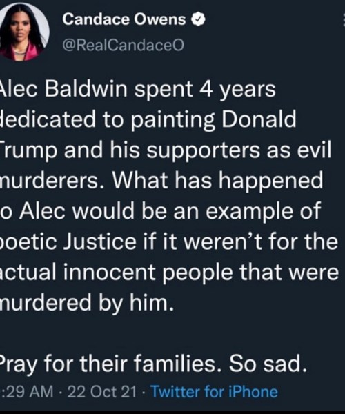 Candace Owens appears to justify Alec Baldwin's onset accident calling it poetic justice because he doesn't like Trump