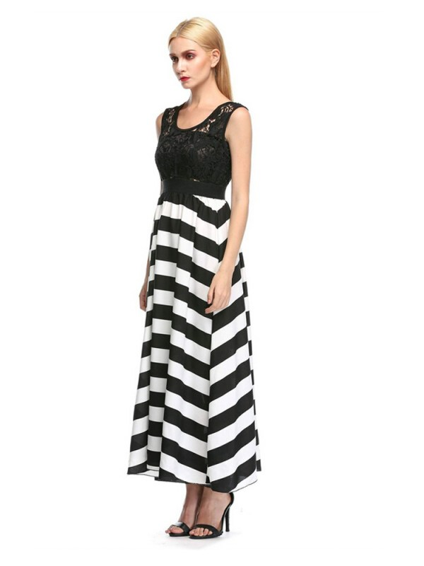 Buy Lace Patchwork BlackWhite Stripe Long Maxi Dress