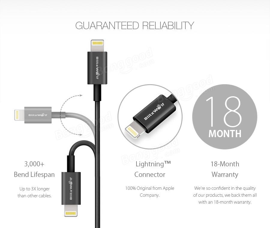 Buy [Apple MFI Certified] BlitzWolf™ Lightning To USB