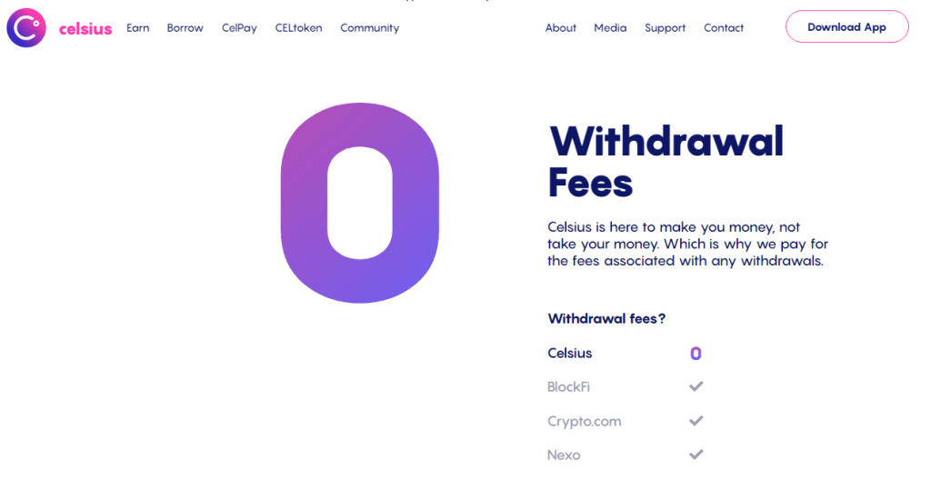 Celsius Wallet Transfer Fees