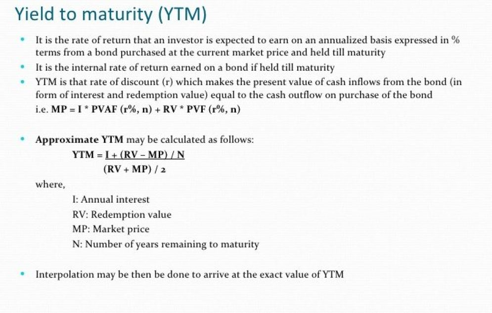 Yield to Maturity-YTM and Yield to Call-YTC