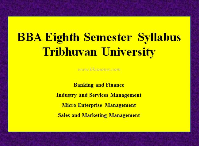 TU BBA Eighth Semester Syllabus