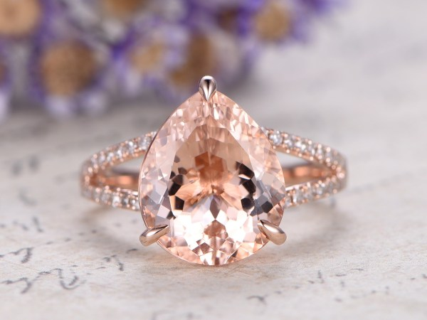 pear shaped morganite rose gold ring