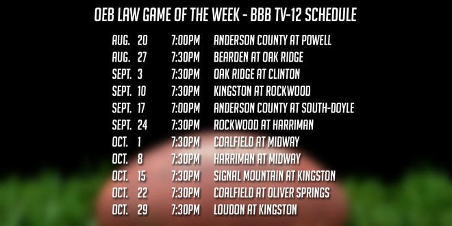 BBB TV-12 is Proud to Announce our 2021 OEB Law Game of the Week Schedule
