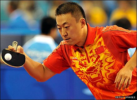 China's Ma Lin in action against Panagiotis Gionis of Greece