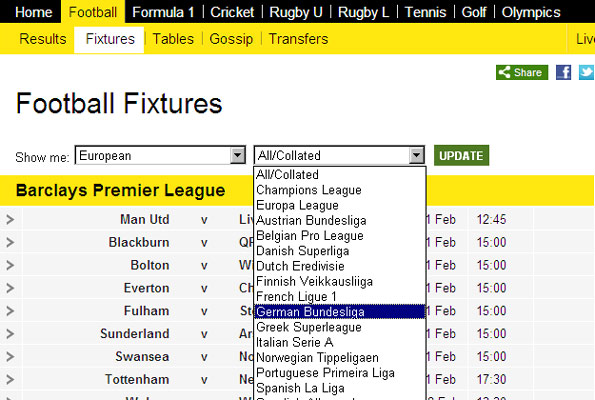 Bbc english premier league fixture table - Bbc football league 1 table ...