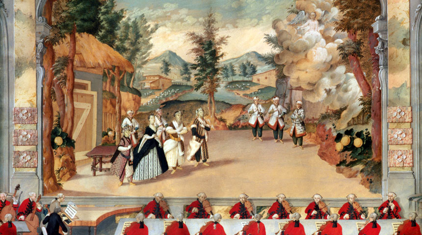 Haydn directing a performance of his opera Lincontro improvviso in the Esterházy theatre in 1775. ©The Bridgeman Art Library