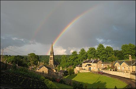 rainbow over Edensor, taken from bbc.uk
