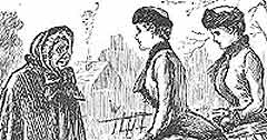 'Punch' cartoon depicting Victorian women extending 'charity and benevolence' to neighbours