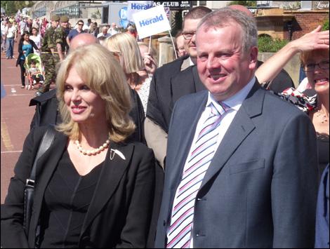 Joanna Lumley (L) with Peter Carroll in Folkestone
