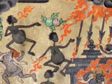 The hungry ghosts, misshapen figures with huge bellies and tiny mouths, suffering from flames and thunderbolts