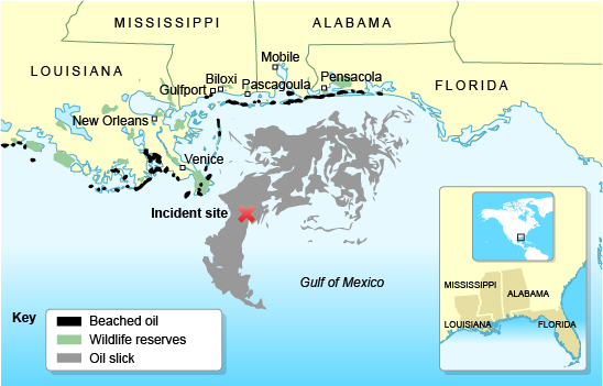 Gulf of Mexico Oil spill location map