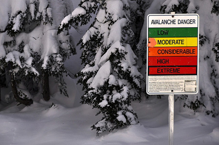 Avalanche hazard sign