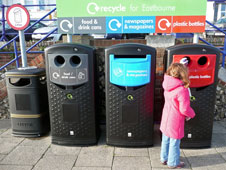 A recycling point in Eastbourne, Sussex