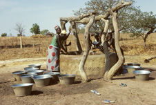 Women and children collecting drinking water from a manmade well