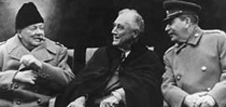 Churchill, Roosevelt and Stalin sitting at the Yalta Conference