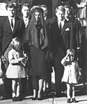 Members of the Kennedy family at the funeral of assassinated president John F Kennedy at Washington DC, 25th November 1963. From left: Senator Edward Kennedy, Caroline Kennedy, (aged 6), Jackie Kennedy, Attorney General Robert Kennedy and John Kennedy (aged 3)