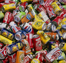 Soft drink cans ready for recycling.