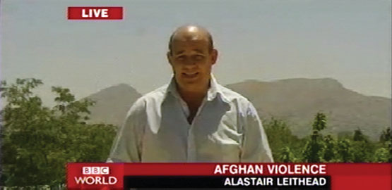Screen Shot Of Bbc News Correspondent Alastair Leithead Reporting Live From Kabul For Bbc World