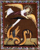 A dragon pursuing a woman, who is being carried to safety on eagles' wings. The dragon is spewing water from its mouth to catch her, but the earth has opened up and is draining the water away