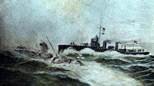 postcard of the sinking of U12, copyright Jim Macleod