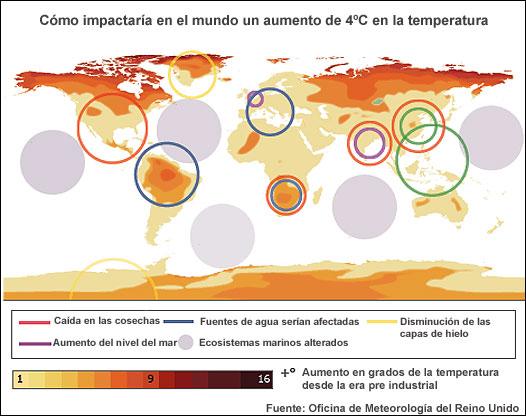 Mapa de cambio climático elaborado por la Oficina Meteorológica Británica