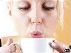 Bebiendo café