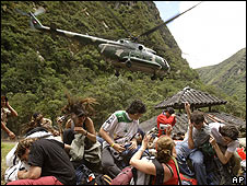 Evacuación de turistas