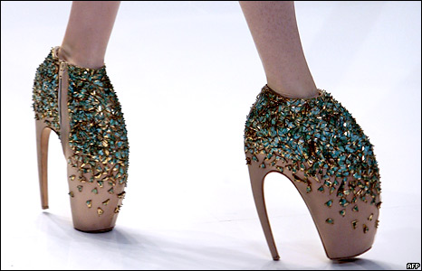 A pair of shoes designed by British designer Alexander McQueen