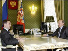 Дмитрий Медведев и Владимир Путин в Кремле