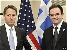 Timothy Geithner (izq.) y George Papaconstantinou