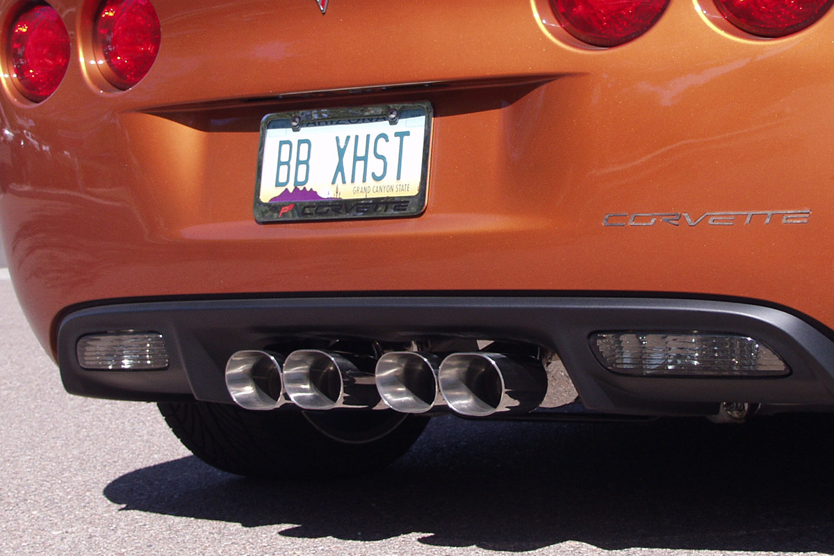 chevy c6 corvette fusion axle back exhaust system for factory npp inc grand sport oval tips fcor 0559